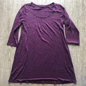 eileen fisher pleated linen tunic purple